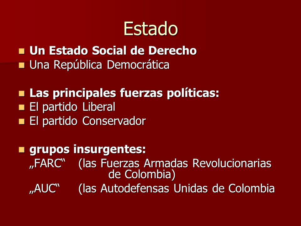 Estado Un Estado Social de Derecho Un Estado Social de Derecho Una República Democrática Una República Democrática Las principales fuerzas políticas: Las principales fuerzas políticas: El partido Liberal El partido Liberal El partido Conservador El partido Conservador grupos insurgentes: grupos insurgentes: FARC(las Fuerzas Armadas Revolucionarias de Colombia) AUC(las Autodefensas Unidas de Colombia