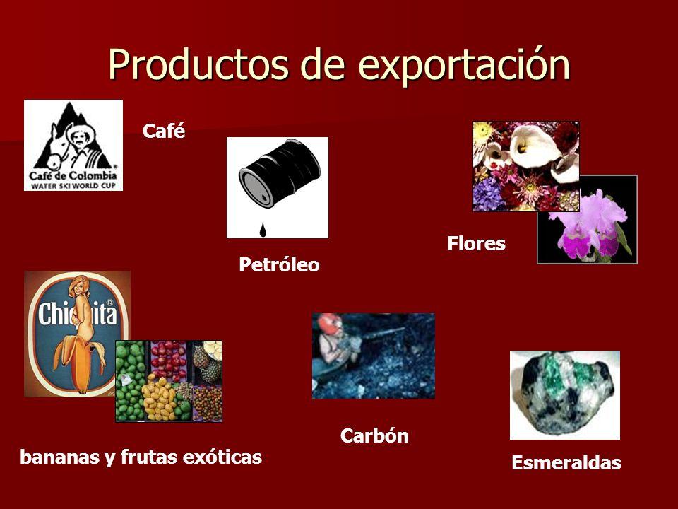 Productos de exportación Café Petróleo Flores Esmeraldas bananas y frutas exóticas Carbón