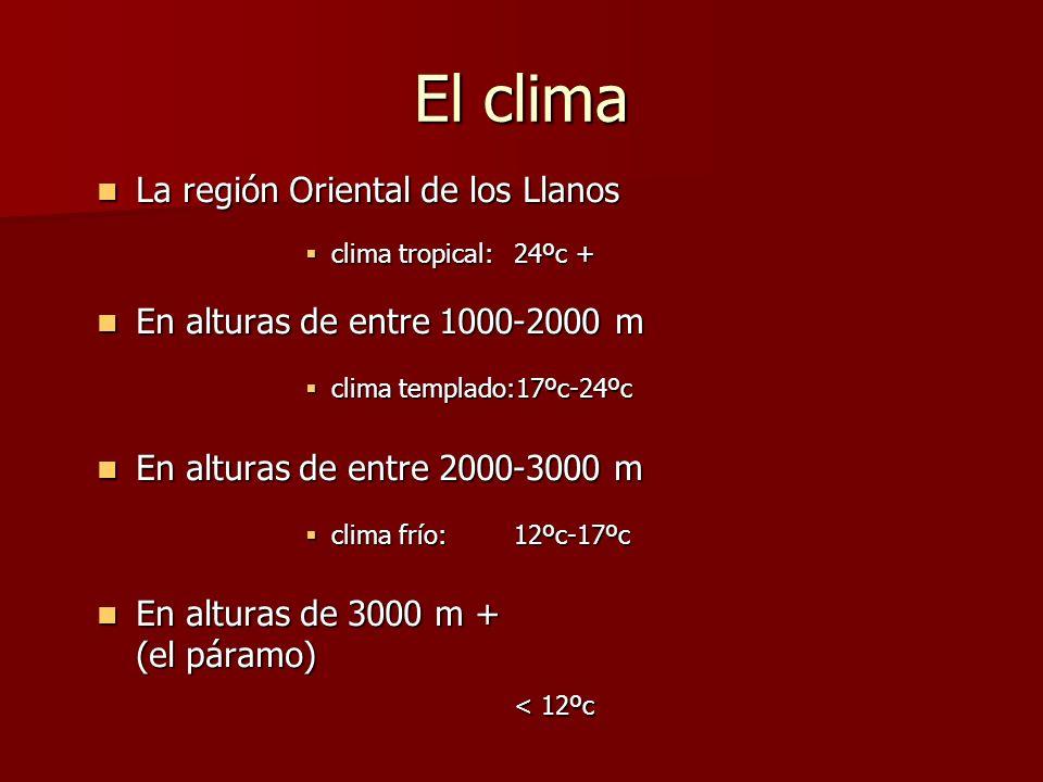El clima La región Oriental de los Llanos La región Oriental de los Llanos clima tropical: 24ºc + clima tropical: 24ºc + En alturas de entre 1000-2000 m En alturas de entre 1000-2000 m clima templado:17ºc-24ºc clima templado:17ºc-24ºc En alturas de entre 2000-3000 m En alturas de entre 2000-3000 m clima frío:12ºc-17ºc clima frío:12ºc-17ºc En alturas de 3000 m + En alturas de 3000 m + (el páramo) < 12ºc