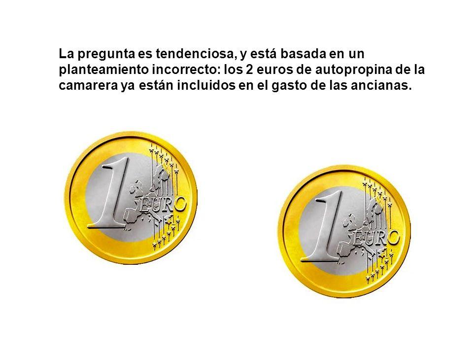 Si las ancianas se gastaron 6 euros, menos 1, cada una de las tres, y sumamos los 2 euros de autopropina que se quedó la camarera, salen 17 euros [[(6 – 1) x 3] + 2 = 17].