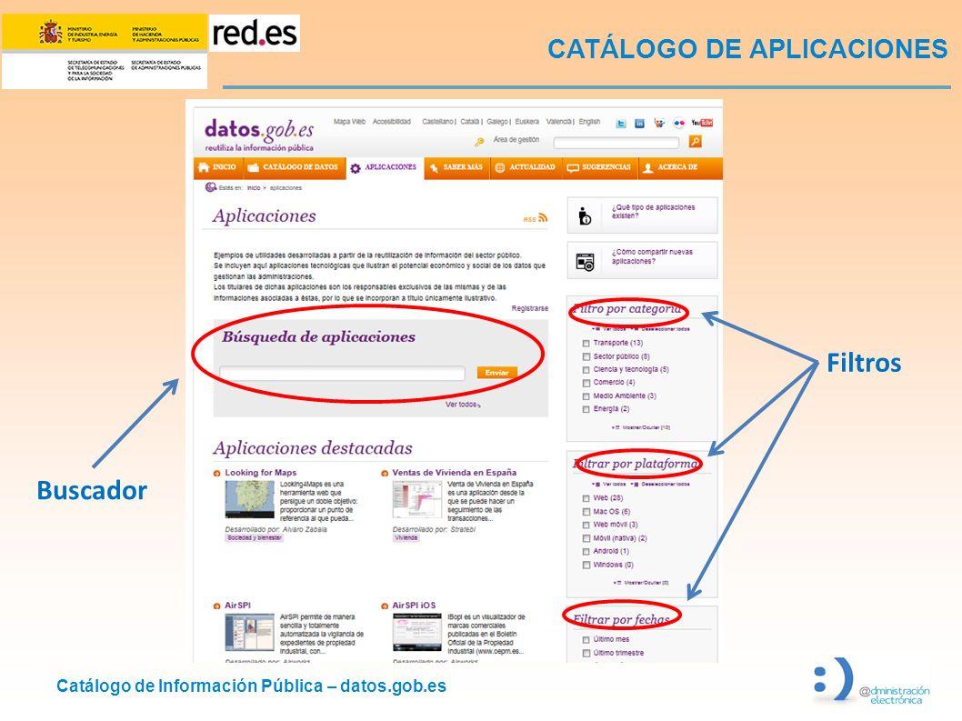 Catálogo de Información Pública – datos.gob.es CATÁLOGO DE APLICACIONES Filtros Buscador