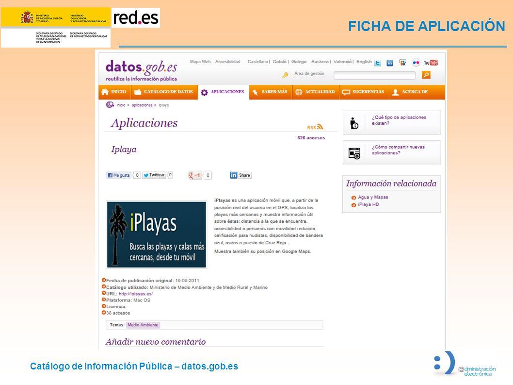 Catálogo de Información Pública – datos.gob.es FICHA DE APLICACIÓN