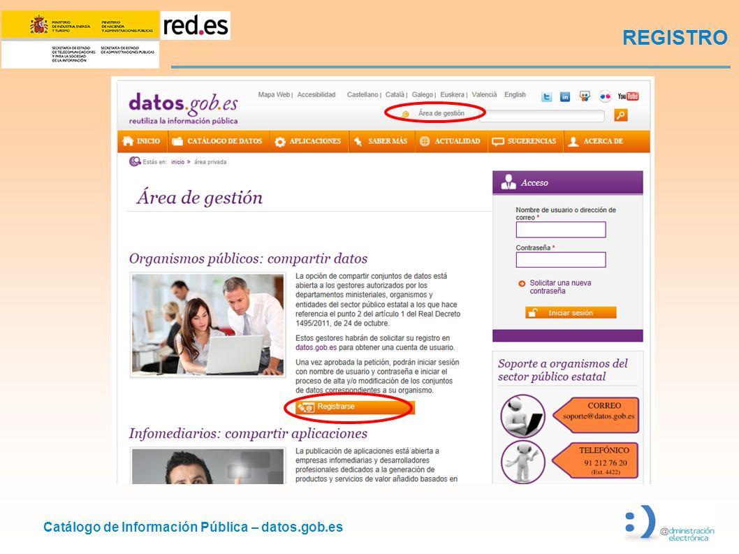 Catálogo de Información Pública – datos.gob.es REGISTRO