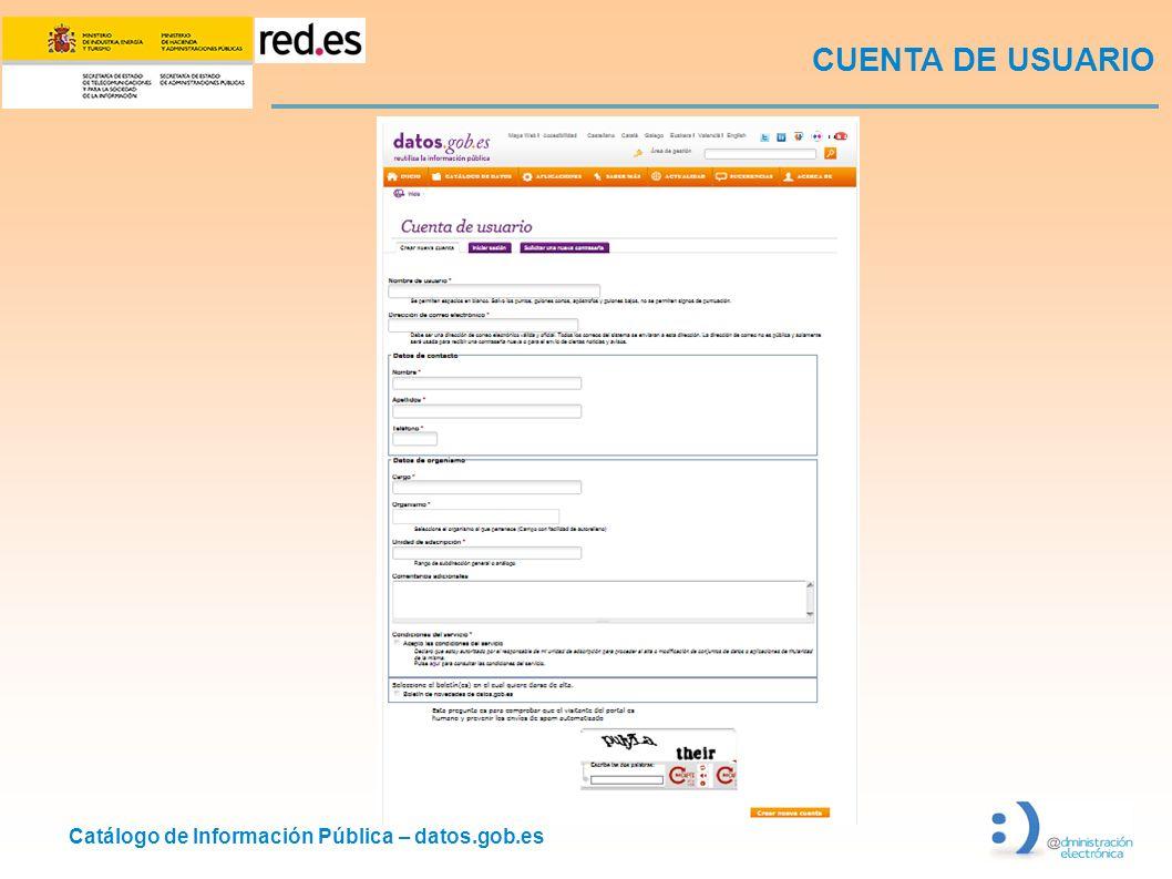 Catálogo de Información Pública – datos.gob.es CUENTA DE USUARIO