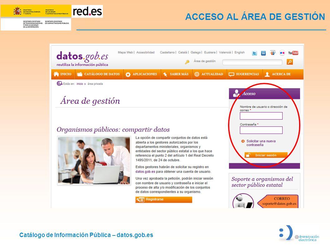 Catálogo de Información Pública – datos.gob.es ACCESO AL ÁREA DE GESTIÓN