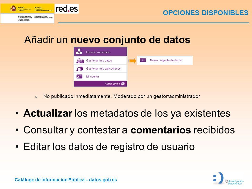 Catálogo de Información Pública – datos.gob.es Añadir un nuevo conjunto de datos No publicado inmediatamente.