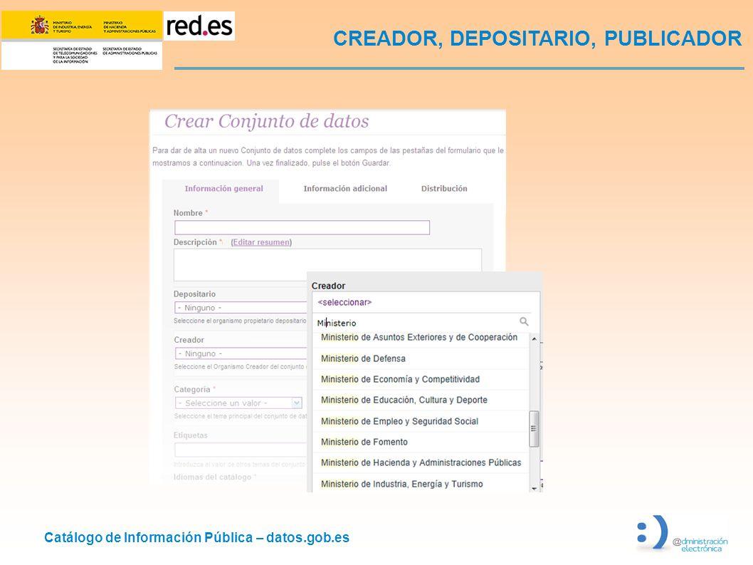 Catálogo de Información Pública – datos.gob.es CREADOR, DEPOSITARIO, PUBLICADOR