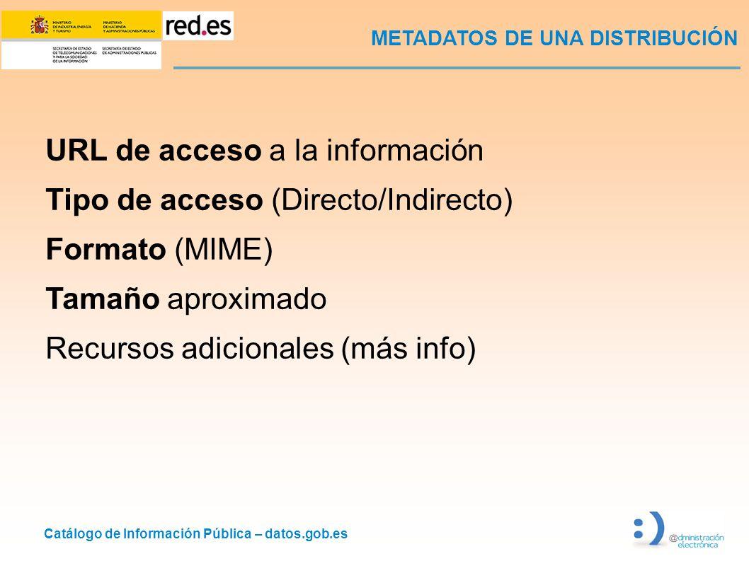 Catálogo de Información Pública – datos.gob.es METADATOS DE UNA DISTRIBUCIÓN URL de acceso a la información Tipo de acceso (Directo/Indirecto) Formato (MIME) Tamaño aproximado Recursos adicionales (más info)
