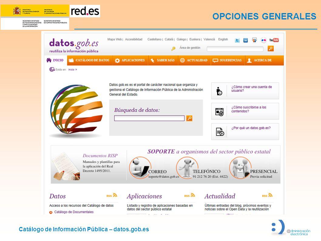 Catálogo de Información Pública – datos.gob.es OPCIONES GENERALES