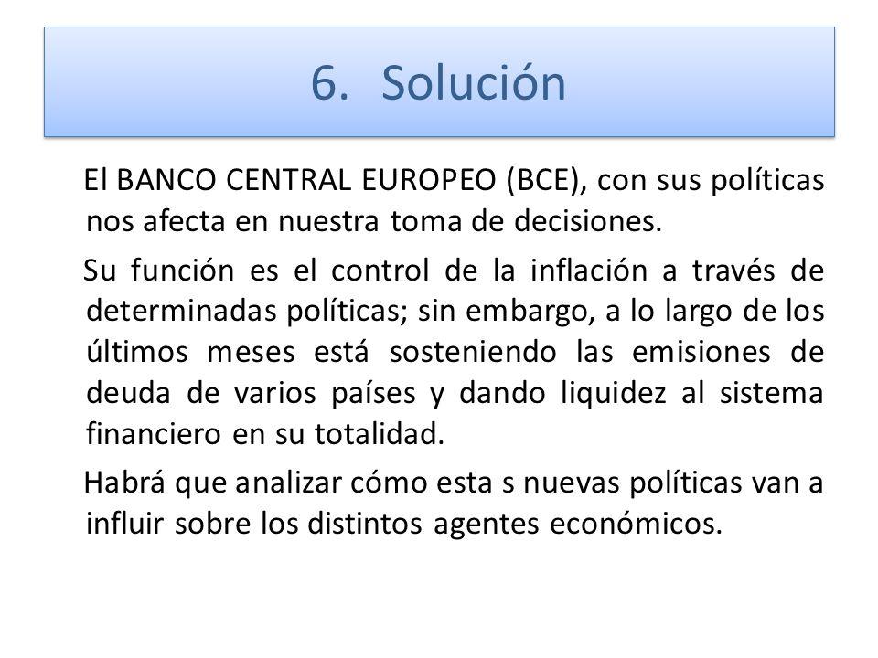 6.Solución El BANCO CENTRAL EUROPEO (BCE), con sus políticas nos afecta en nuestra toma de decisiones. Su función es el control de la inflación a trav