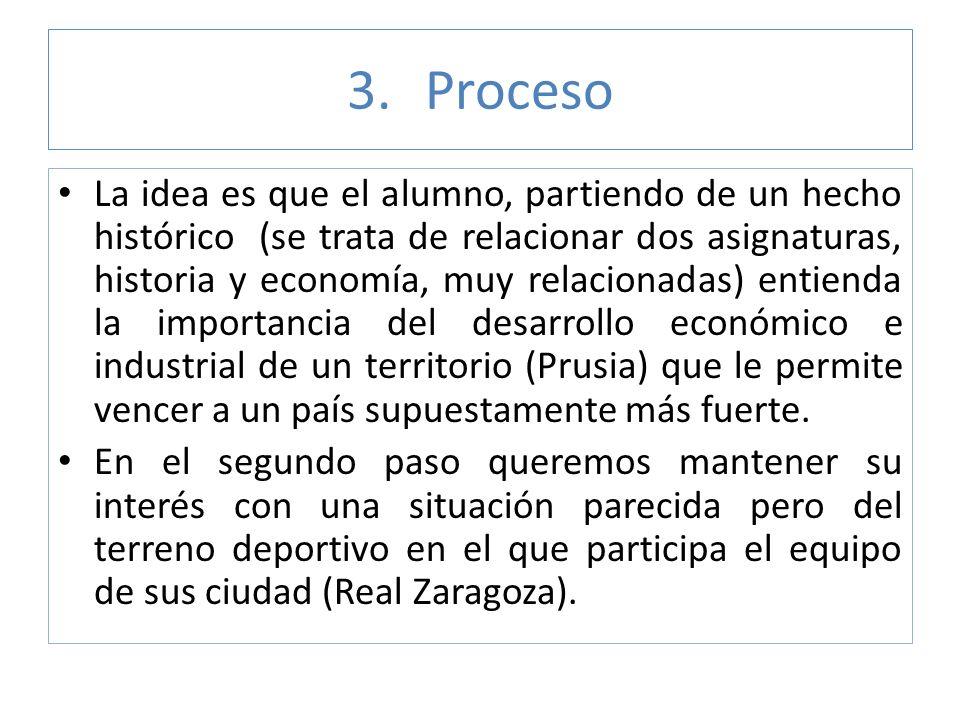3.Proceso La idea es que el alumno, partiendo de un hecho histórico (se trata de relacionar dos asignaturas, historia y economía, muy relacionadas) en