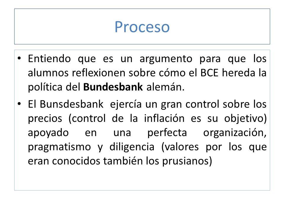 Proceso Entiendo que es un argumento para que los alumnos reflexionen sobre cómo el BCE hereda la política del Bundesbank alemán. El Bunsdesbank ejerc