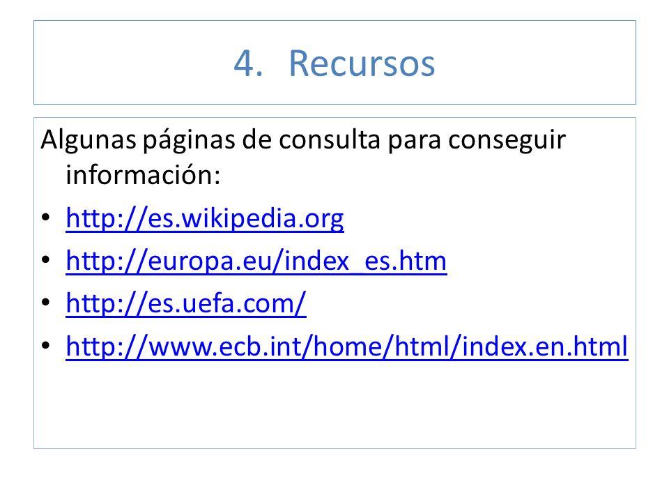 4.Recursos Algunas páginas de consulta para conseguir información: http://es.wikipedia.org http://europa.eu/index_es.htm http://es.uefa.com/ http://ww