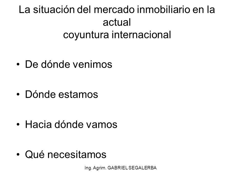 No hay burbuja inmobiliaria en Uruguay Mercado sostenido pese a turbulencias internacionales Ley 18.795 cambiará el escenario Impacto de medidas argentinas Dónde estamos Ing.