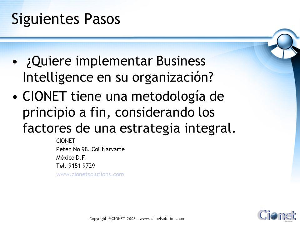 Copyright @CIONET 2003 - www.cionetsolutions.com Siguientes Pasos ¿Quiere implementar Business Intelligence en su organización? CIONET tiene una metod