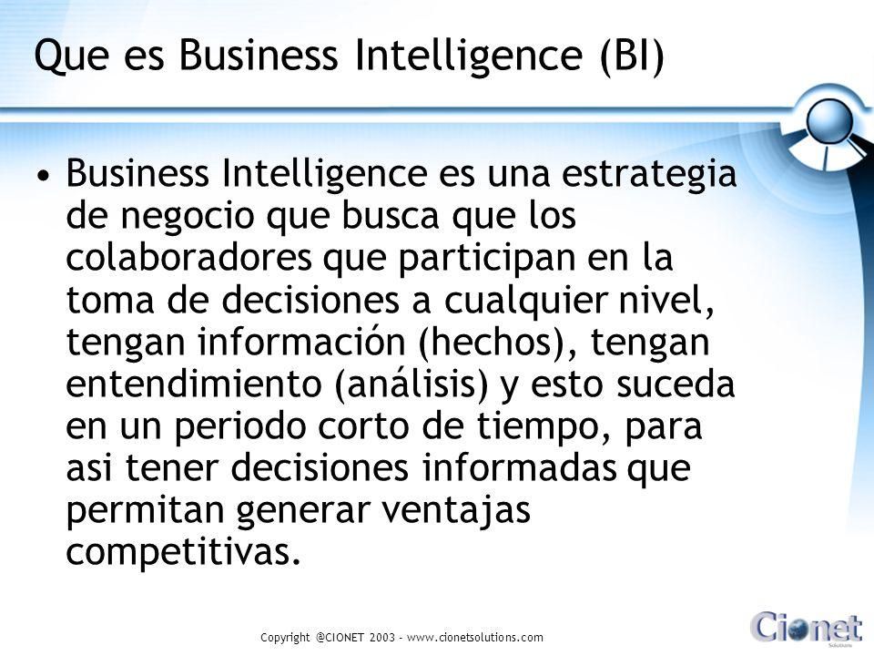 Copyright @CIONET 2003 - www.cionetsolutions.com Los tomadores de decisiones que no puedan ver los datos de sus negocios no tienen ninguna ventaja sobre aquellos que no tienen datos del todo.