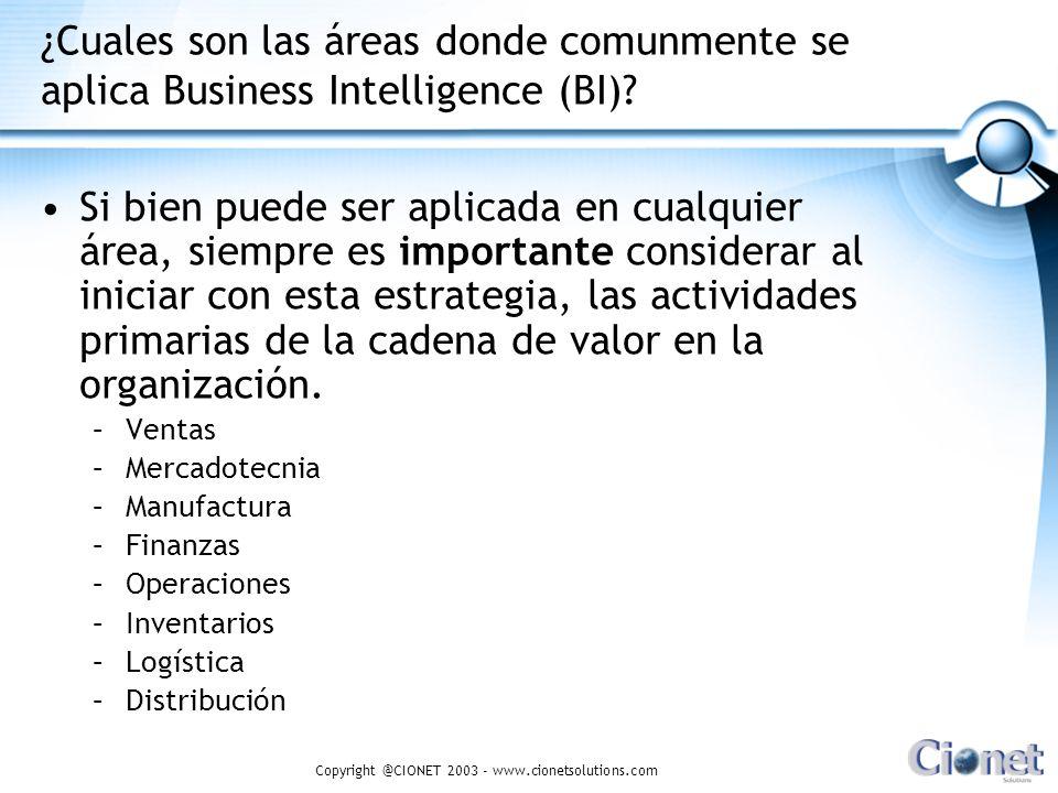 Copyright @CIONET 2003 - www.cionetsolutions.com ¿Cuales son las áreas donde comunmente se aplica Business Intelligence (BI)? Si bien puede ser aplica