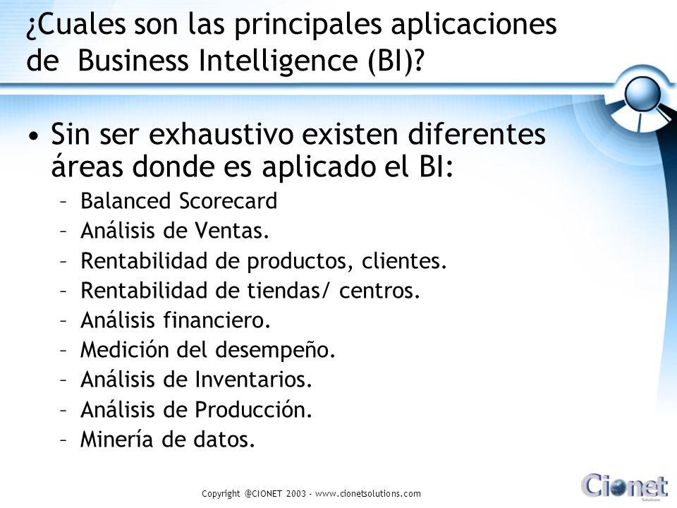 Copyright @CIONET 2003 - www.cionetsolutions.com ¿Cuales son las principales aplicaciones de Business Intelligence (BI)? Sin ser exhaustivo existen di