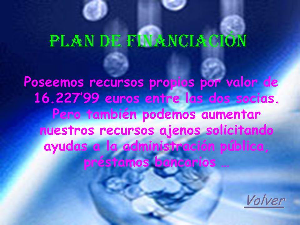 Plan de Financiación Poseemos recursos propios por valor de 16.22799 euros entre las dos socias. Pero también podemos aumentar nuestros recursos ajeno