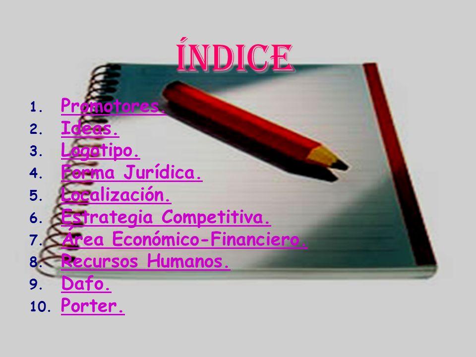 Índice 1. Promotores. 2. Ideas. 3. Logotipo. 4. Forma Jurídica. 5. Localización. 6. Estrategia Competitiva. 7. Área Económico-Financiero. 8. Recursos