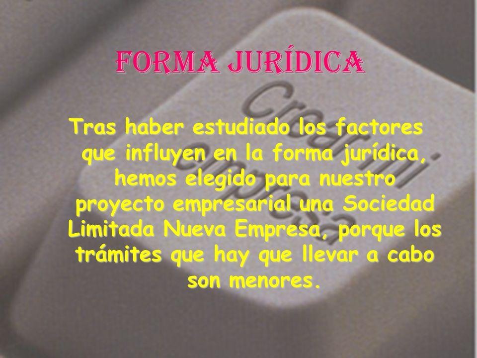 Forma jurídica Tras haber estudiado los factores que influyen en la forma jurídica, hemos elegido para nuestro proyecto empresarial una Sociedad Limit