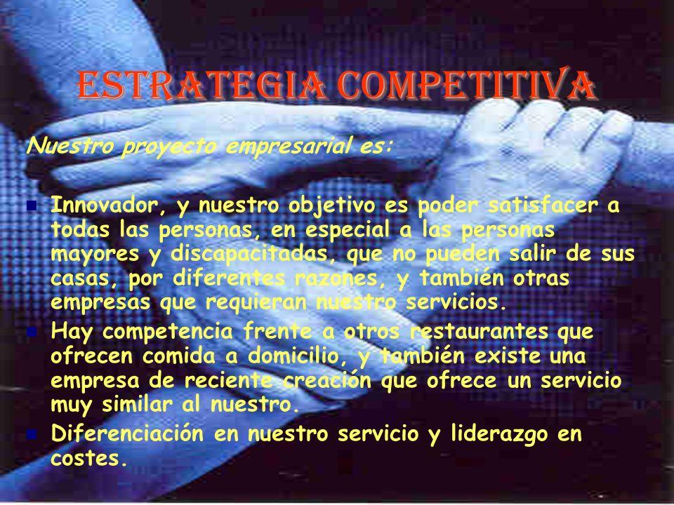 Estrategia Competitiva Nuestro proyecto empresarial es: Innovador, y nuestro objetivo es poder satisfacer a todas las personas, en especial a las pers