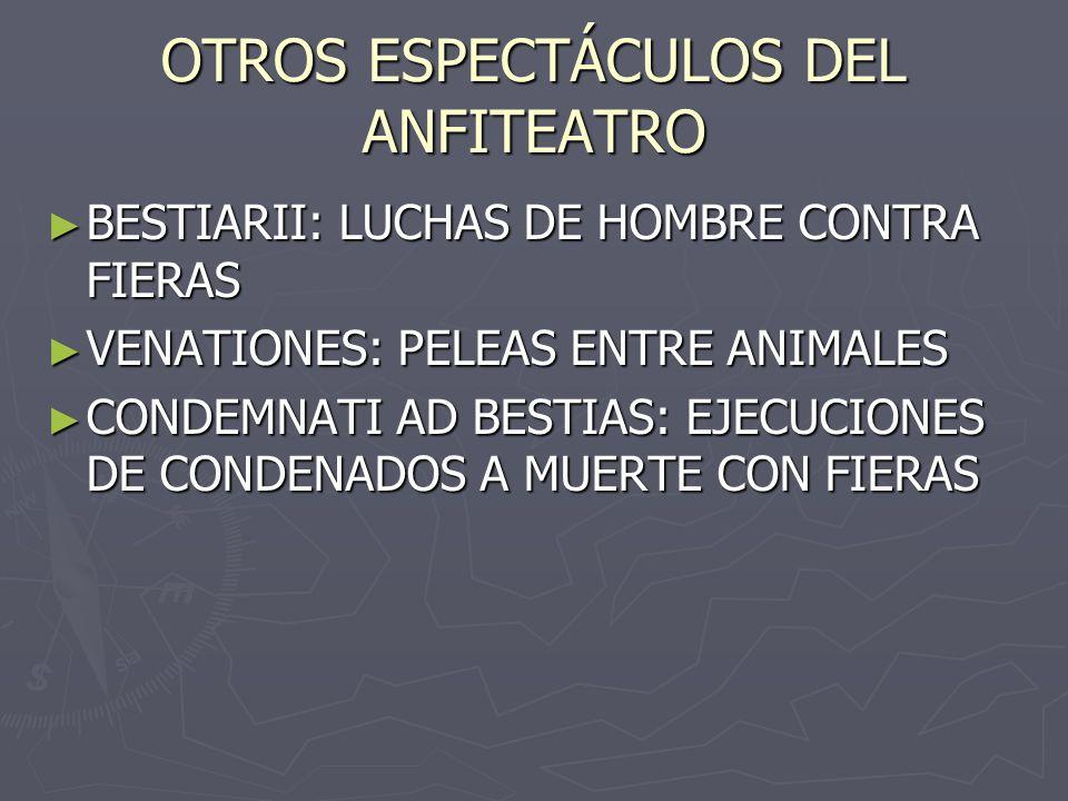 OTROS ESPECTÁCULOS DEL ANFITEATRO BESTIARII: LUCHAS DE HOMBRE CONTRA FIERAS BESTIARII: LUCHAS DE HOMBRE CONTRA FIERAS VENATIONES: PELEAS ENTRE ANIMALE
