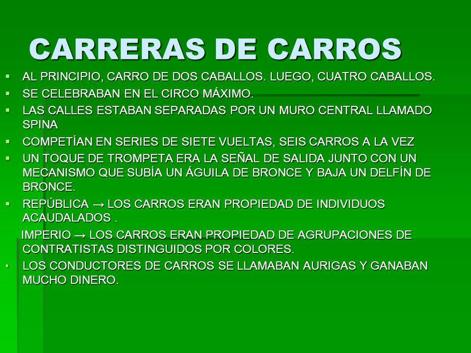 CARRERAS DE CARROS AL PRINCIPIO, CARRO DE DOS CABALLOS. LUEGO, CUATRO CABALLOS. AL PRINCIPIO, CARRO DE DOS CABALLOS. LUEGO, CUATRO CABALLOS. SE CELEBR