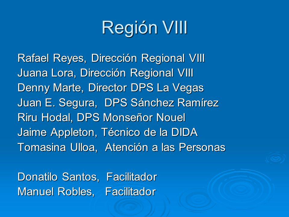 Región VIII Rafael Reyes, Dirección Regional VIII Juana Lora, Dirección Regional VIII Denny Marte, Director DPS La Vegas Juan E.