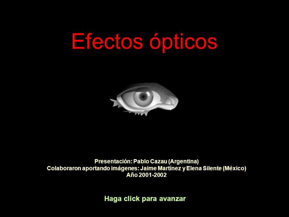 Efectos ópticos Haga click para avanzar Presentación: Pablo Cazau (Argentina) Colaboraron aportando imágenes: Jaime Martínez y Elena Silente (México)