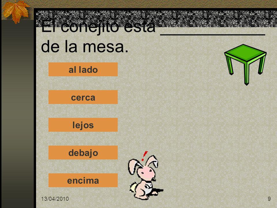 13/04/20109 El conejito está ___________ de la mesa. al lado cerca lejos debajo encima
