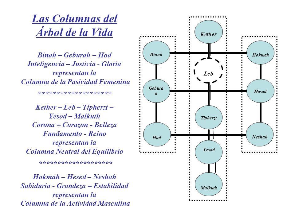 Las Columnas del Árbol de la Vida Binah – Geburah – Hod Inteligencia – Justicia - Gloria representan la Columna de la Pasividad Femenina *************