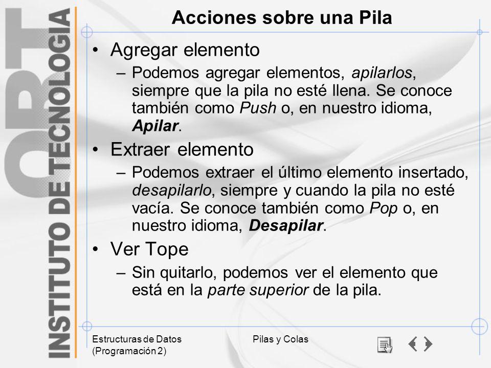 Estructuras de Datos (Programación 2) Pilas y Colas Acciones sobre una Pila Agregar elemento –Podemos agregar elementos, apilarlos, siempre que la pil