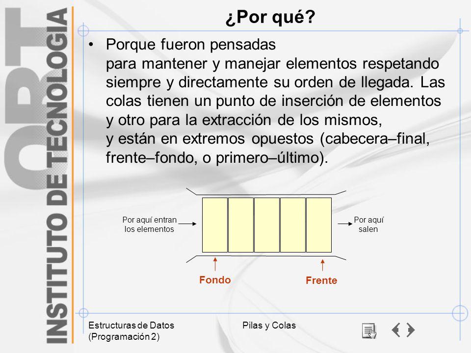 Estructuras de Datos (Programación 2) Pilas y Colas ¿Por qué? Porque fueron pensadas para mantener y manejar elementos respetando siempre y directamen