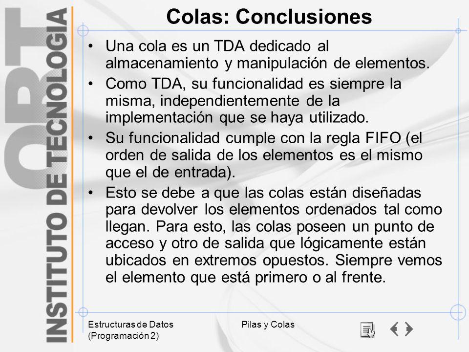 Estructuras de Datos (Programación 2) Pilas y Colas Colas: Conclusiones Una cola es un TDA dedicado al almacenamiento y manipulación de elementos. Com