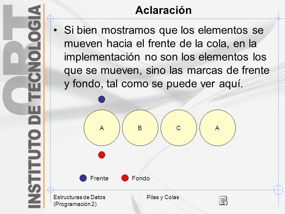 Estructuras de Datos (Programación 2) Pilas y Colas Aclaración Si bien mostramos que los elementos se mueven hacia el frente de la cola, en la impleme