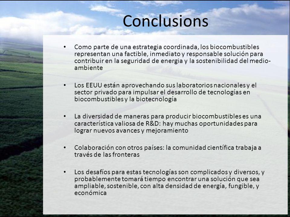 Conclusions Como parte de una estrategia coordinada, los biocombustibles representan una factible, inmediato y responsable solución para contribuir en