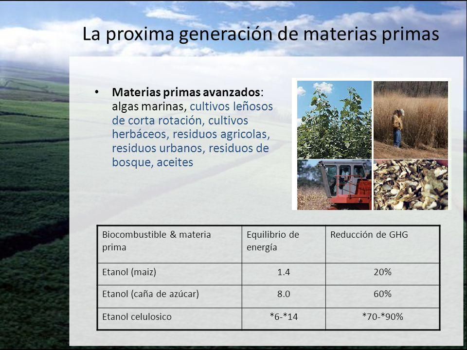 La proxima generación de materias primas Materias primas avanzados: algas marinas, cultivos leñosos de corta rotación, cultivos herbáceos, residuos ag