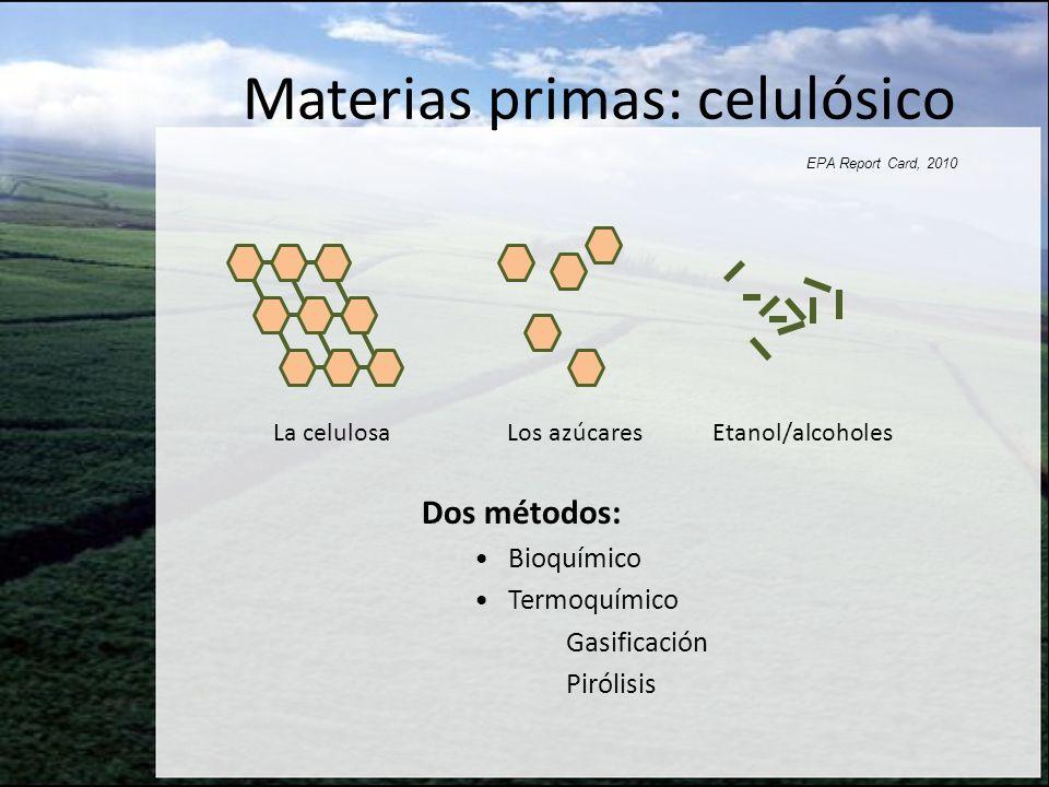 La celulosa Los azúcares Etanol/alcoholes EPA Report Card, 2010 Dos métodos: Bioquímico Termoquímico Gasificación Pirólisis Materias primas: celulósic
