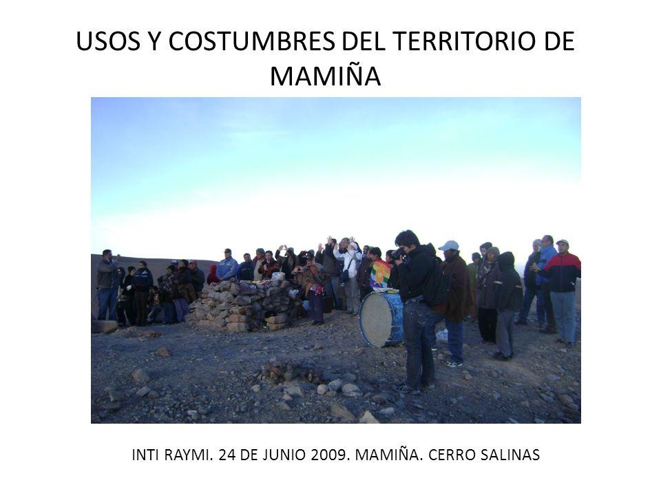USOS Y COSTUMBRES DEL TERRITORIO DE MAMIÑA PASCUAL BACIAN QUIHUATA De Mamiña… tengo un cuento de mi abuelo de 1936… cuando en esos años no existían los baños de Ipla…no existían… era un camino que salía a Bolivia… todo eso era fiscal… no había ningún dueño… tengo un mapa de eso… eran muy pocas la familias que tenían escrituras de título… de terreno… (Mamiña, junio 2008)