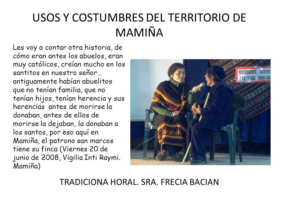 USOS Y COSTUMBRES DEL TERRITORIO DE MAMIÑA TRADICIONAL CEREMONIA QUECHUA.