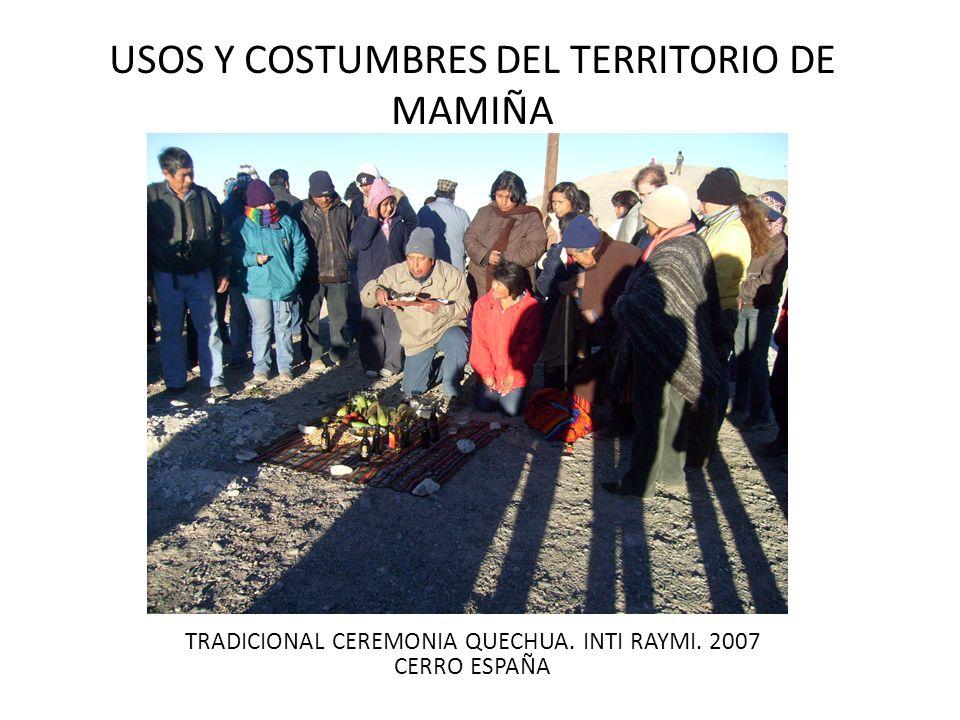 USOS Y COSTUMBRES DEL TERRITORIO DE MAMIÑA TRADICIONAL CEREMONIA QUECHUA. INTI RAYMI. 2007 CERRO ESPAÑA