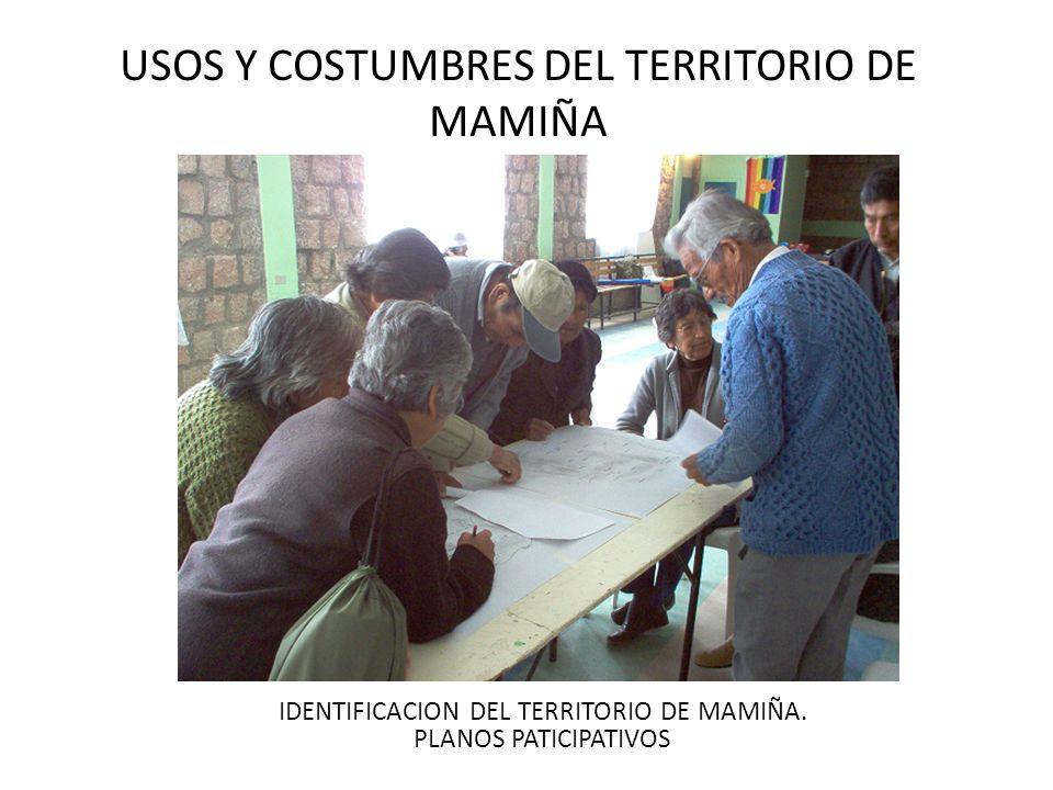 USOS Y COSTUMBRES DEL TERRITORIO DE MAMIÑA IDENTIFICACION DEL TERRITORIO DE MAMIÑA. PLANOS PATICIPATIVOS