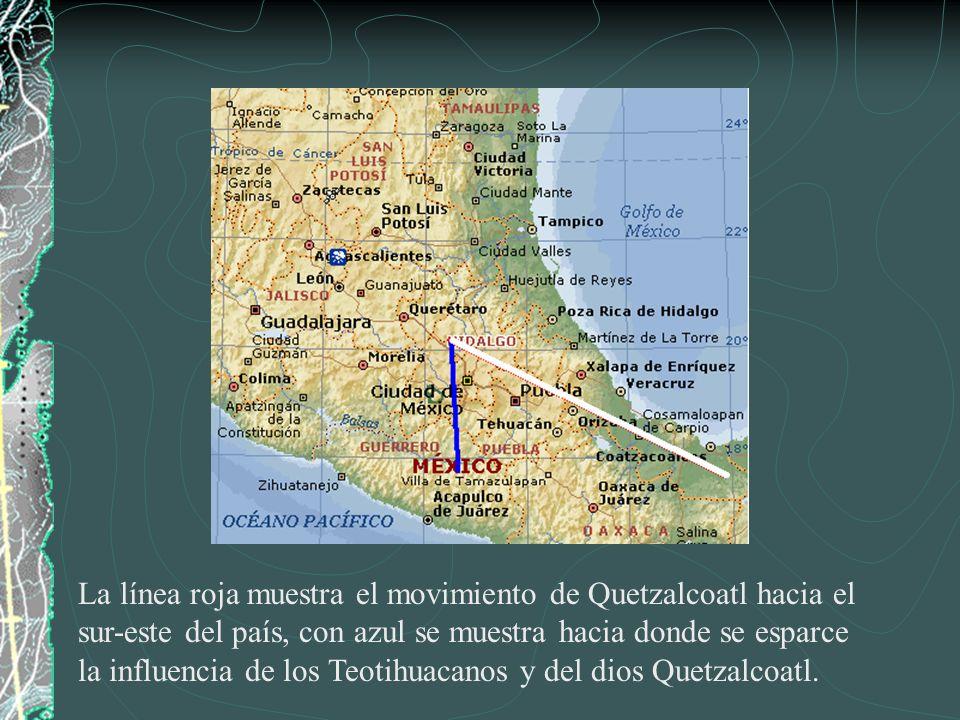 La línea roja muestra el movimiento de Quetzalcoatl hacia el sur-este del país, con azul se muestra hacia donde se esparce la influencia de los Teotih