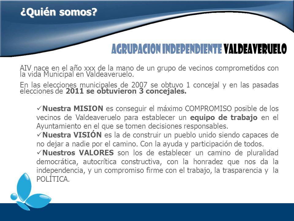 AIV nace en el año xxx de la mano de un grupo de vecinos comprometidos con la vida Municipal en Valdeaveruelo. En las elecciones municipales de 2007 s