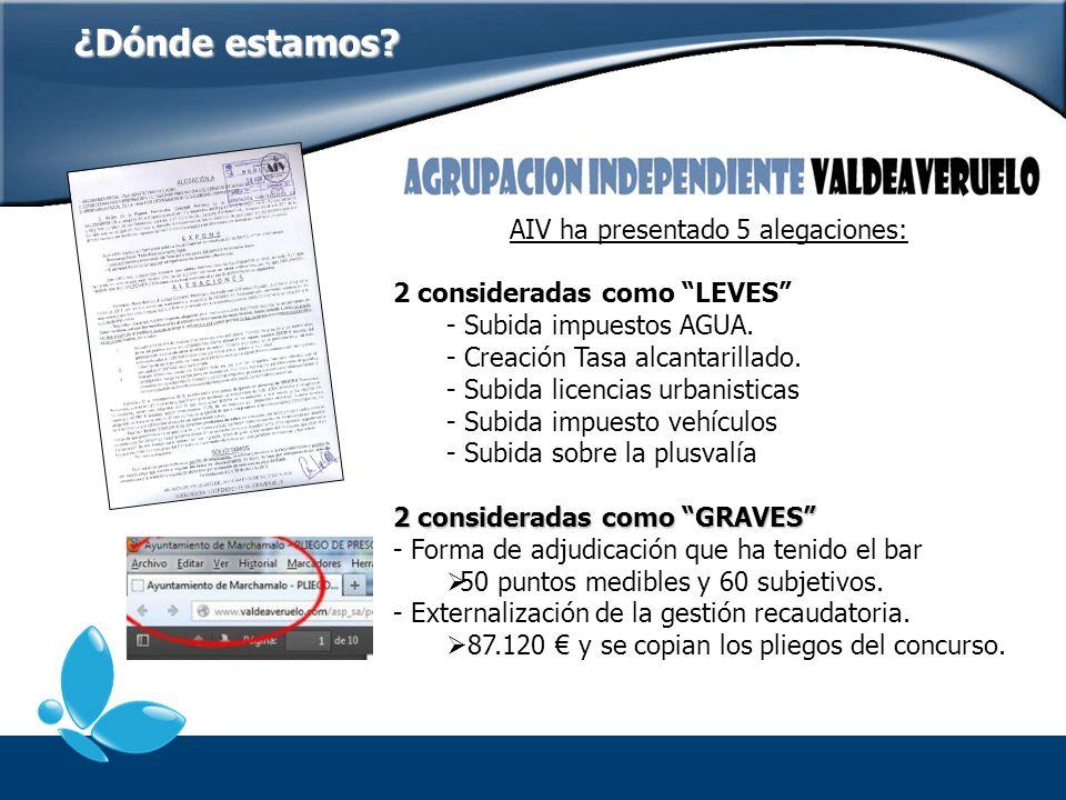 AIV ha presentado 5 alegaciones: 2 consideradas como LEVES - Subida impuestos AGUA. - Creación Tasa alcantarillado. - Subida licencias urbanisticas -