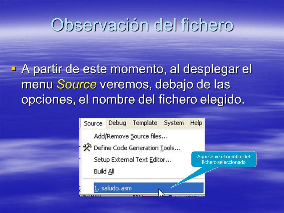 Observación del fichero A partir de este momento, al desplegar el menu Source veremos, debajo de las opciones, el nombre del fichero elegido. A partir