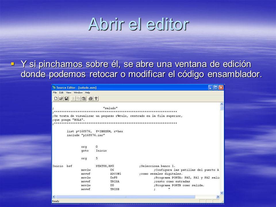 Abrir el editor Y si pinchamos sobre él, se abre una ventana de edición donde podemos retocar o modificar el código ensamblador. Y si pinchamos sobre