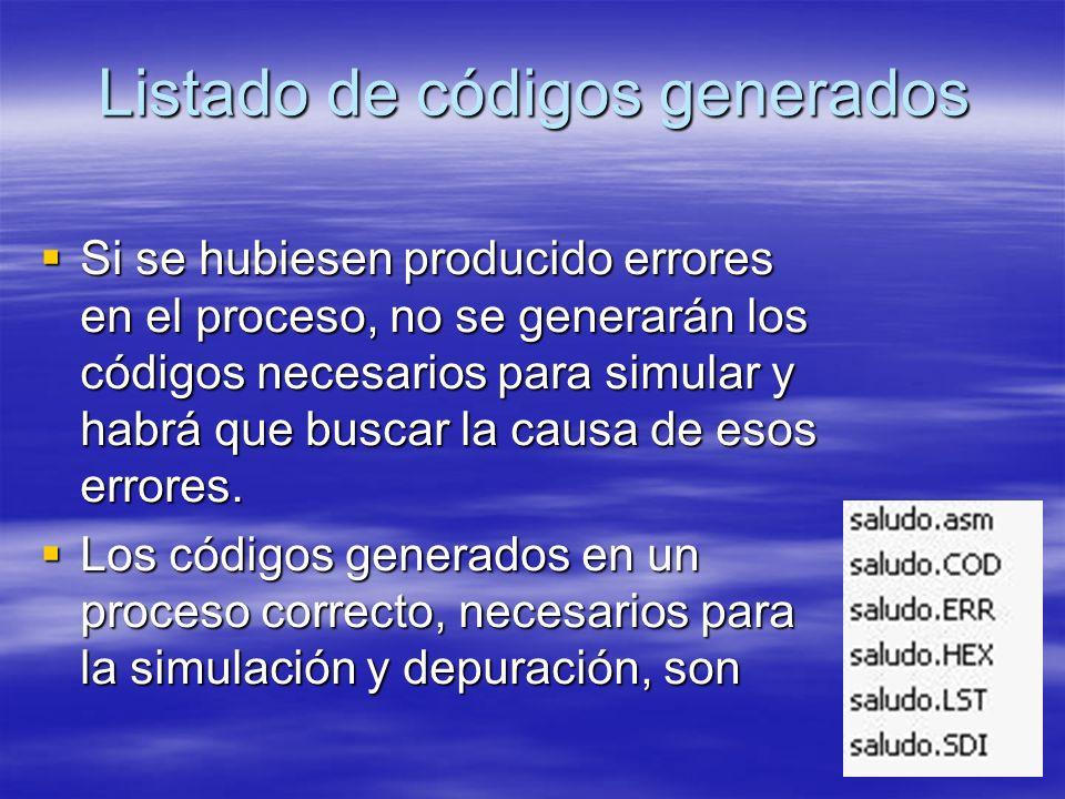 Listado de códigos generados Si se hubiesen producido errores en el proceso, no se generarán los códigos necesarios para simular y habrá que buscar la