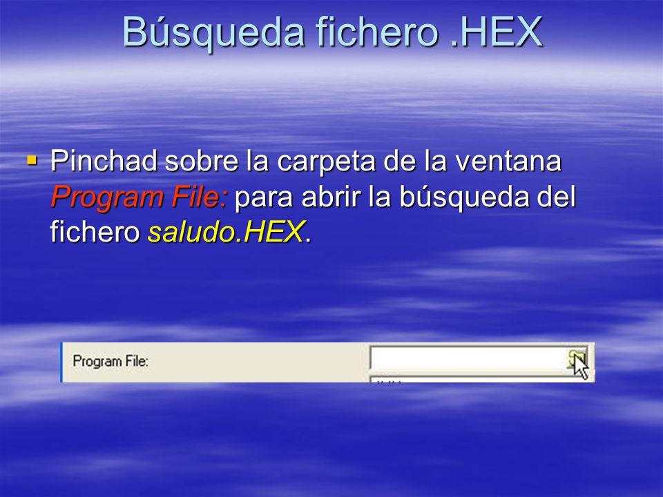 Búsqueda fichero.HEX Pinchad sobre la carpeta de la ventana Program File: para abrir la búsqueda del fichero saludo.HEX. Pinchad sobre la carpeta de l